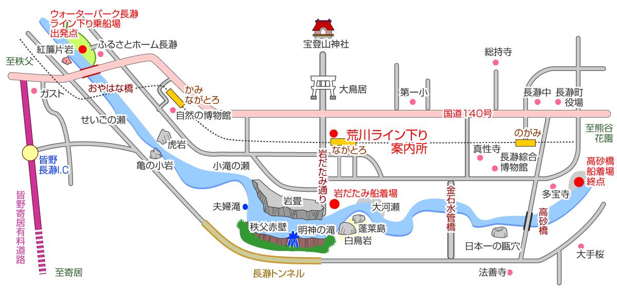舟下りのルートと乗り場案内図